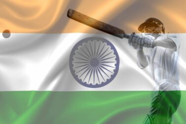 Indian Flag and Cricket Player